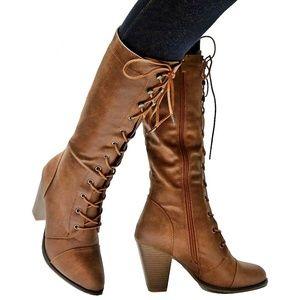 New Tan Combat Lace Up Mid-Calf High Heel Boots